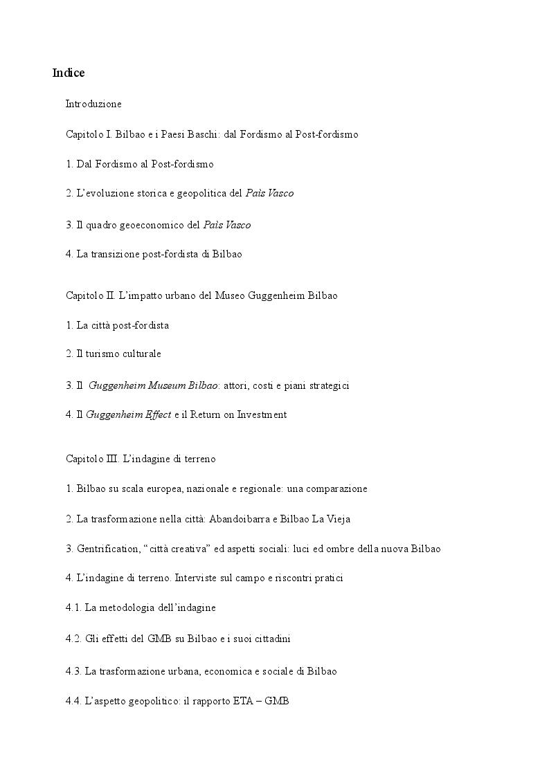 Indice della tesi: Un'indagine di geografia politica urbana: Bilbao ed il Guggenheim, Pagina 1