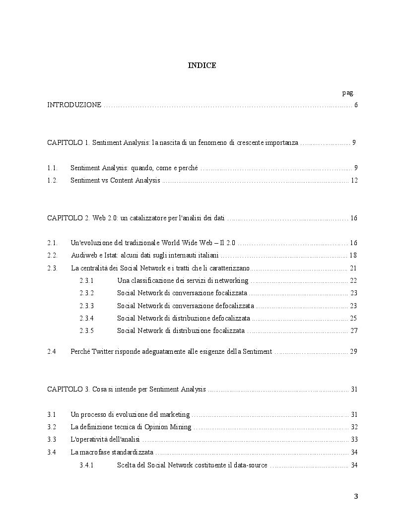 Indice della tesi: Sentiment Analysis - Fondamenta e Sviluppi, Pagina 1
