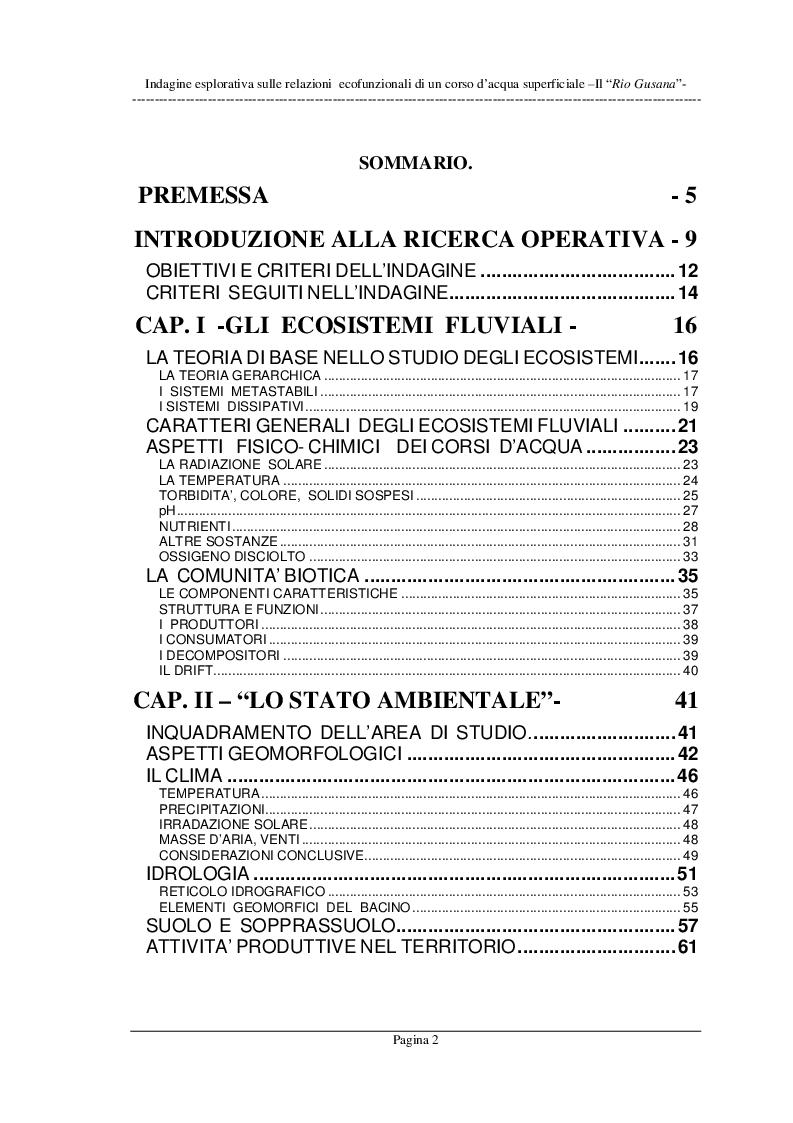 Indice della tesi: Indagine esplorativa sulle relazioni ecofunzionali di un corso d'acqua superficiale - il Rio Gusana, Pagina 1