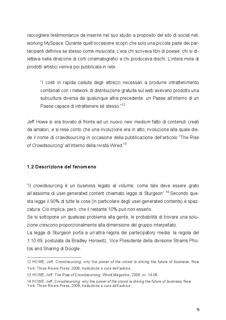 Estratto dalla tesi: Il Crowdsourcing e il Prosumer di contenuti