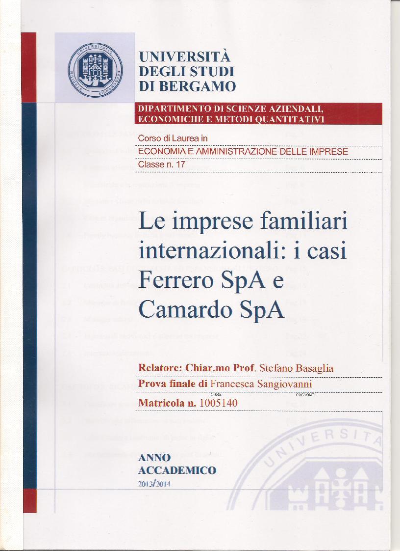 Anteprima della tesi: Le imprese familiari internazionali: i casi Ferrero SpA e Camardo SpA, Pagina 1