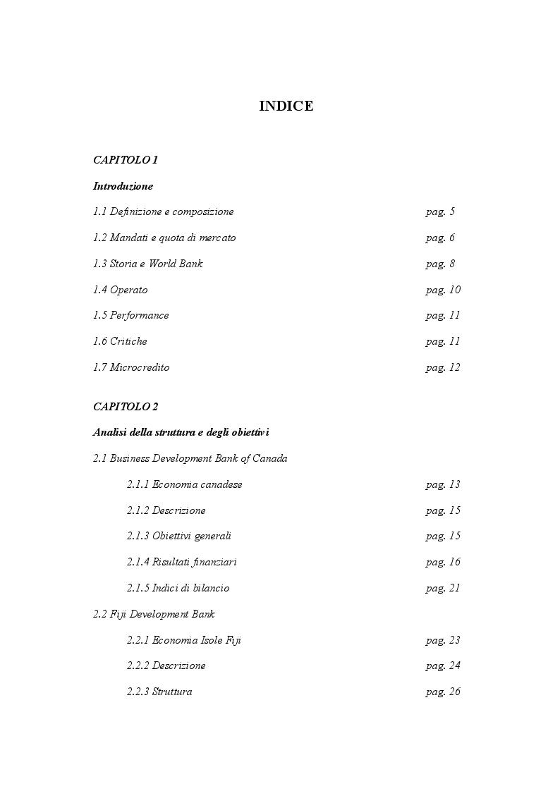 Indice della tesi: Le banche di Sviluppo: analisi del fenomeno e case studies, Pagina 1