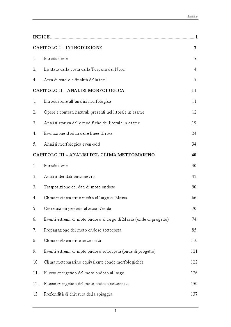 Indice della tesi: Modellazione idro-morfodinamica del litorale di Marina di Massa-Carrara, Pagina 1