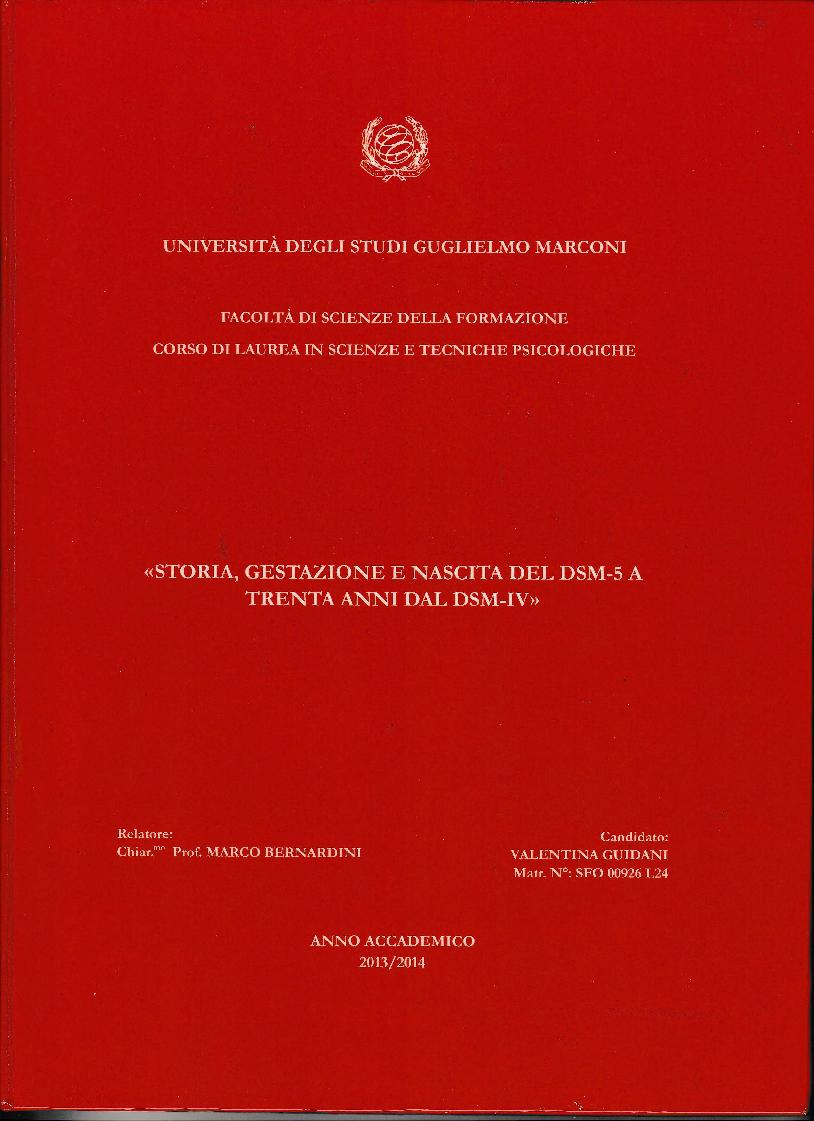Anteprima della tesi: Storia, gestazione e nascita del DSM 5 a trent'anni dal DSM-IV, Pagina 1