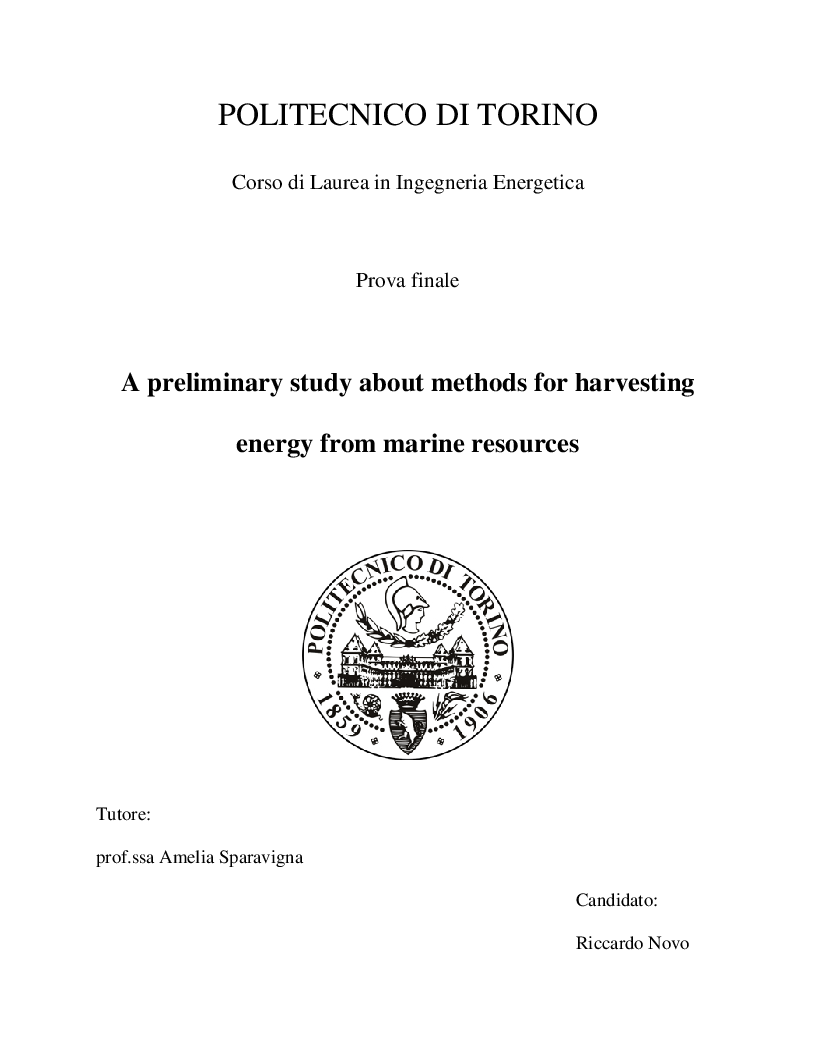 Anteprima della tesi: A preliminary study about methods for harvesting energy from marine resources, Pagina 1