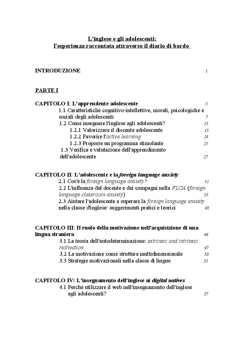 Indice della tesi: L'inglese e gli adolescenti: un'esperienza raccontata attraverso il diario di bordo, Pagina 1