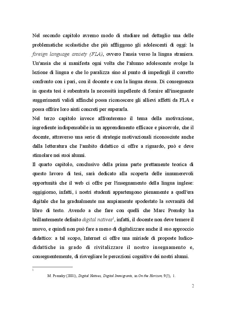 Anteprima della tesi: L'inglese e gli adolescenti: un'esperienza raccontata attraverso il diario di bordo, Pagina 3