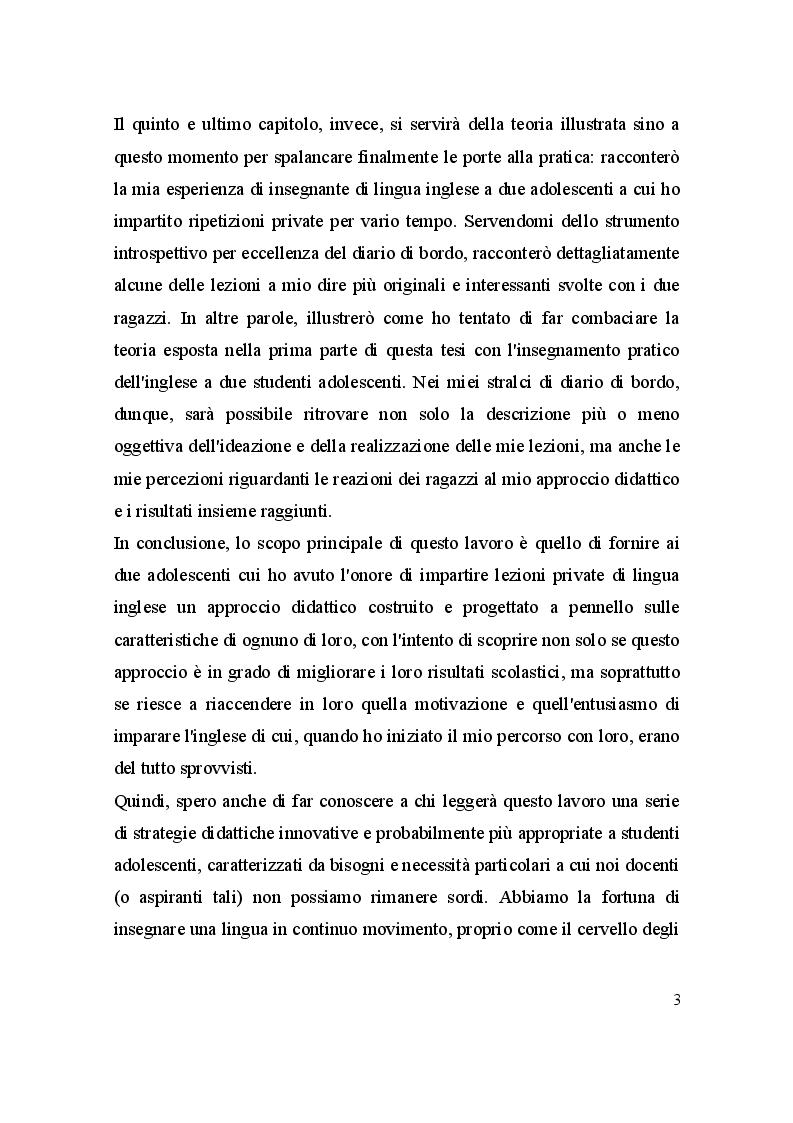 Anteprima della tesi: L'inglese e gli adolescenti: un'esperienza raccontata attraverso il diario di bordo, Pagina 4