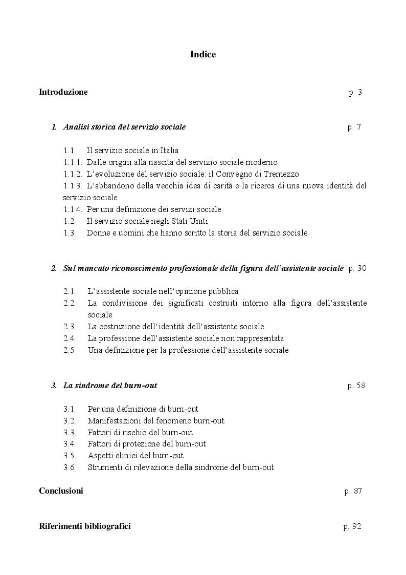 Indice della tesi: La figura dell'assistente sociale tra vecchi stereotipi e nuove sfide: un percorso d'analisi, Pagina 1