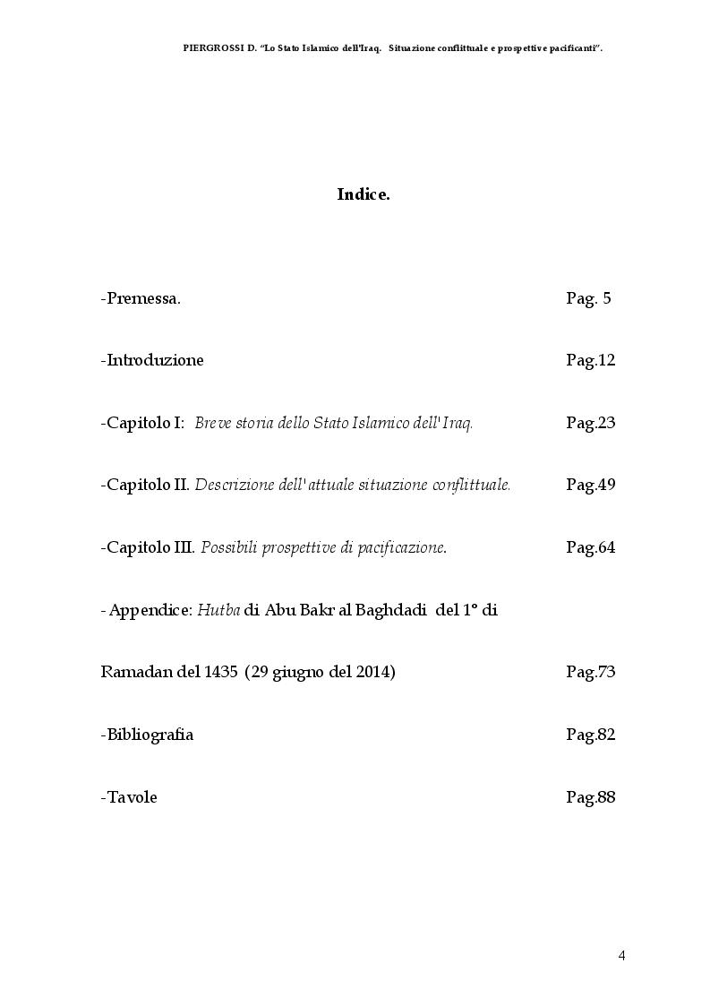 Indice della tesi: Lo Stato Islamico (dell'Iraq). Situazione Conflittuale e prospettive pacificanti, Pagina 1
