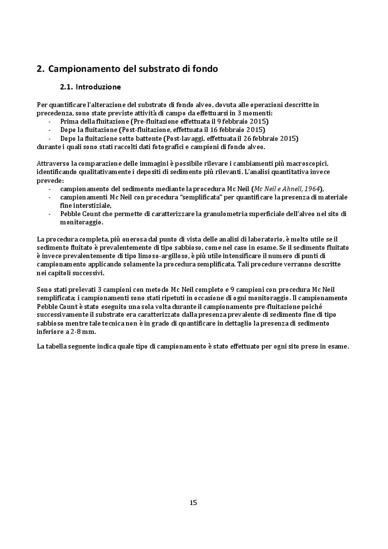 Estratto dalla tesi: Operazione di fluitazione dal serbatoio di Valnegra (BG): alterazione del substrato di fondo nel tratto fluviale di valle
