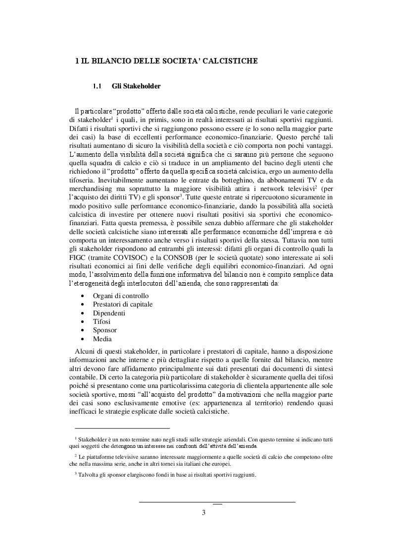 I Bilanci delle società calcistiche:gli effetti del fair play finanziario - Tesi di Laurea