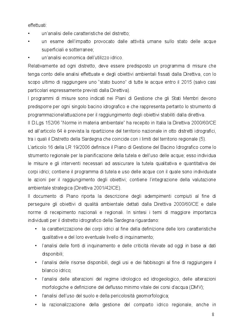 Estratto dalla tesi: La qualità delle acque destinate al consumo umano in Sardegna. Dal piano di gestione del distretto idrografico ai Water Safety Plans