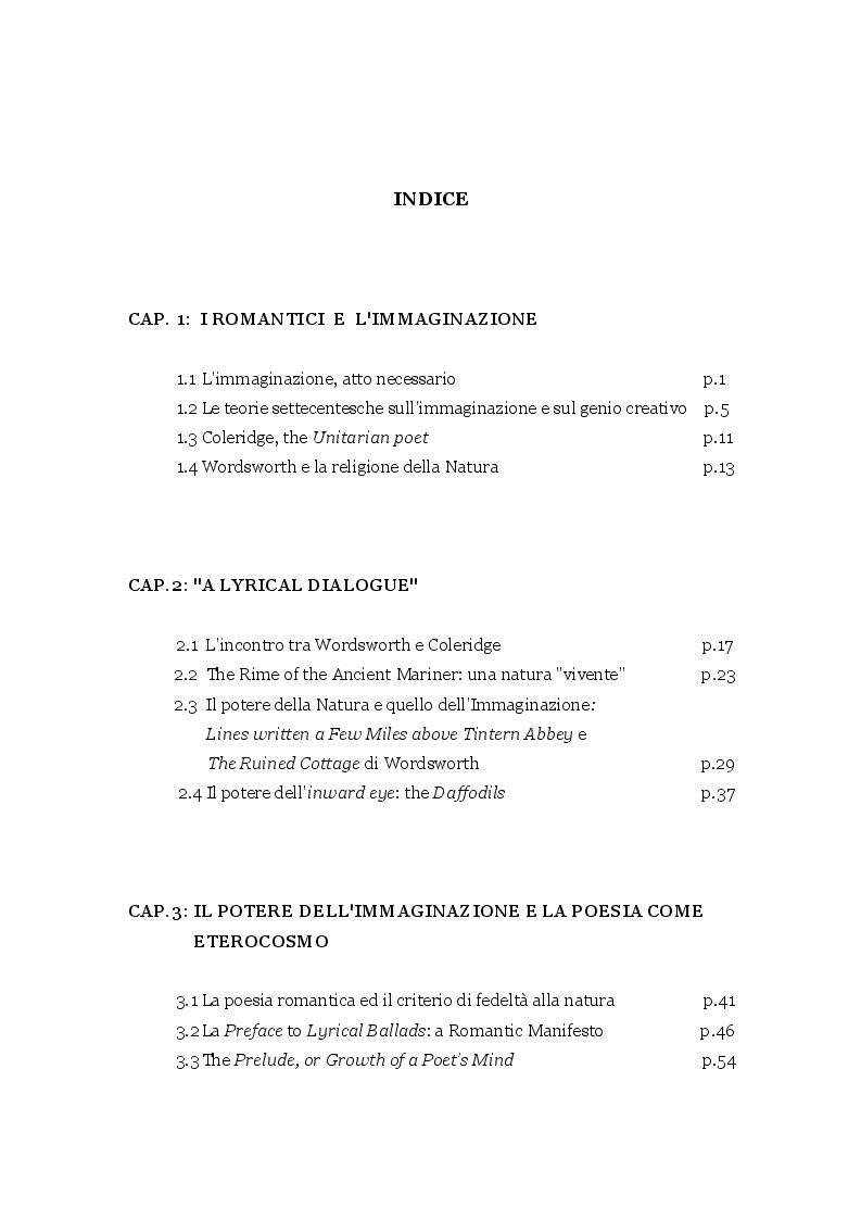 Indice della tesi: Memoria e Immaginazione nella poesia di Wordsworth e Coleridge, Pagina 1