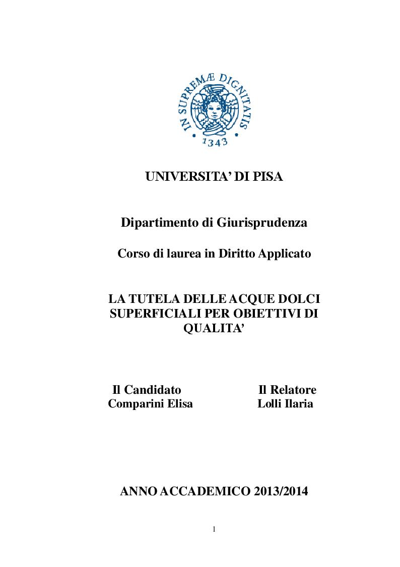 Anteprima della tesi: La tutela qualitativa delle acque dolci superficiali, Pagina 1