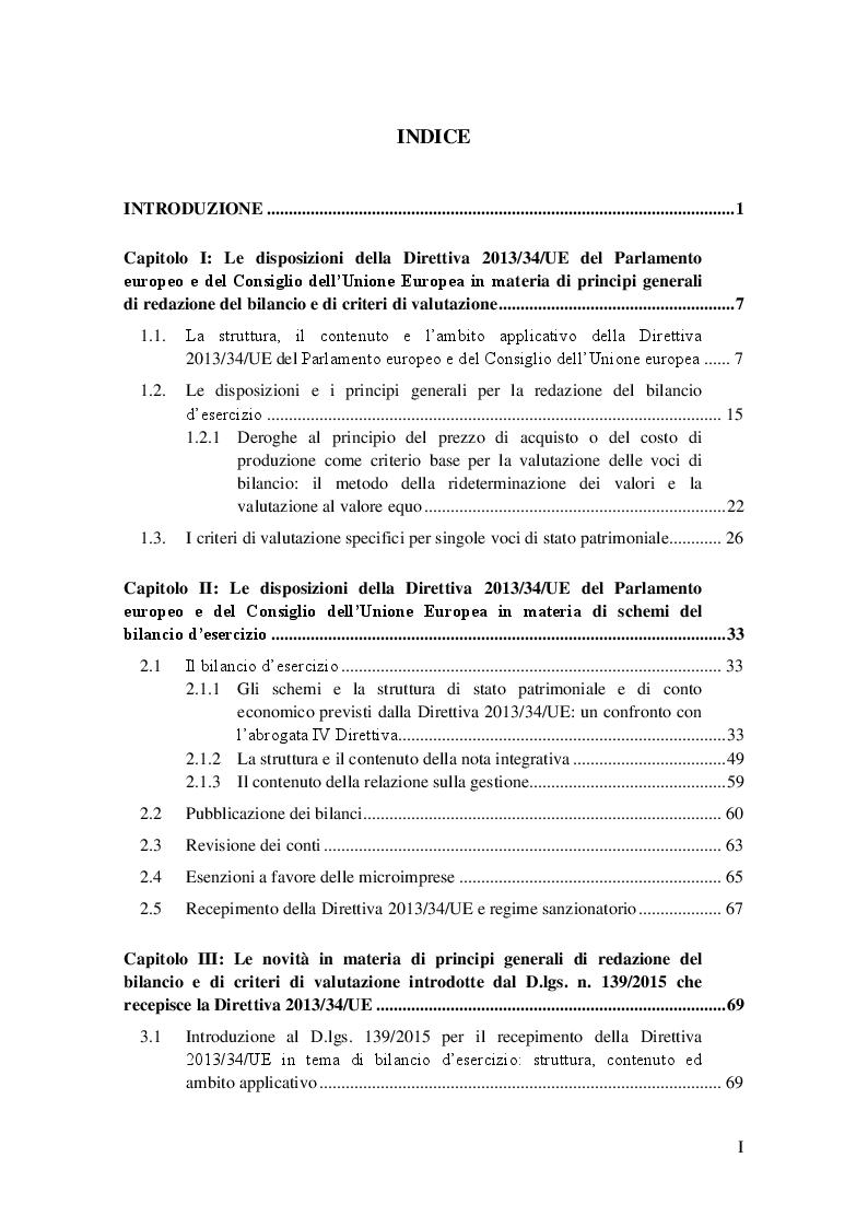 """Indice della tesi: Il """"nuovo"""" bilancio d'esercizio alla luce del D.lgs. 18 agosto 2015 n. 139, Pagina 1"""