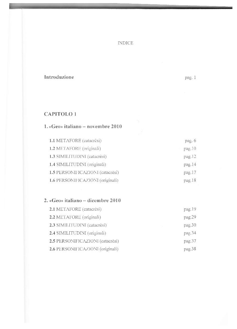 Indice della tesi: Similitudini e metafore in alcuni mensili di viaggio e culturali italiani e francesi, Pagina 1
