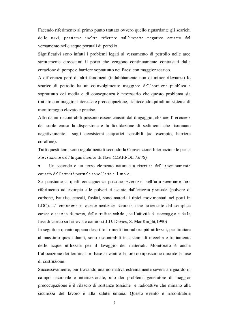 Estratto dalla tesi: Relazione tra attività portuale e ambiente
