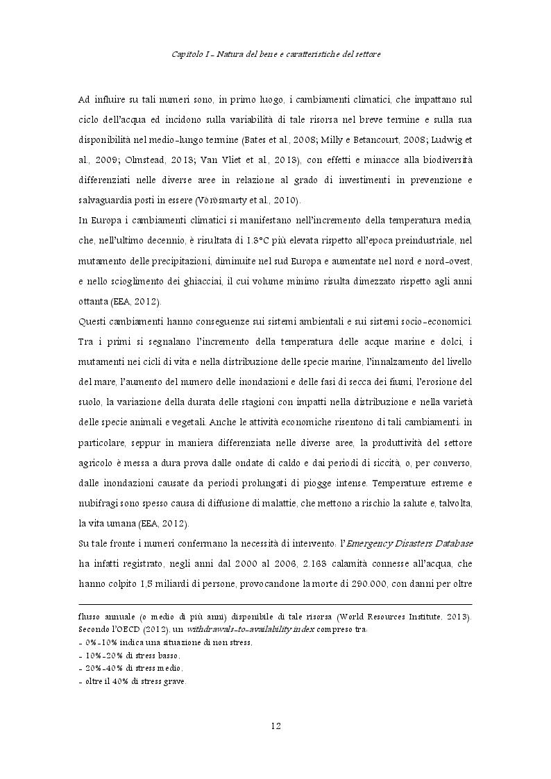 Estratto dalla tesi: Policy per il risparmio idrico: variabili ambientali ed operative che influenzano le scelte dei gestori
