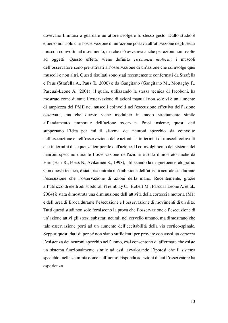 Estratto dalla tesi: Riabilitazione e Neuroni Specchio: applicazione nel recupero funzionale dei deficit motori e cognitivi