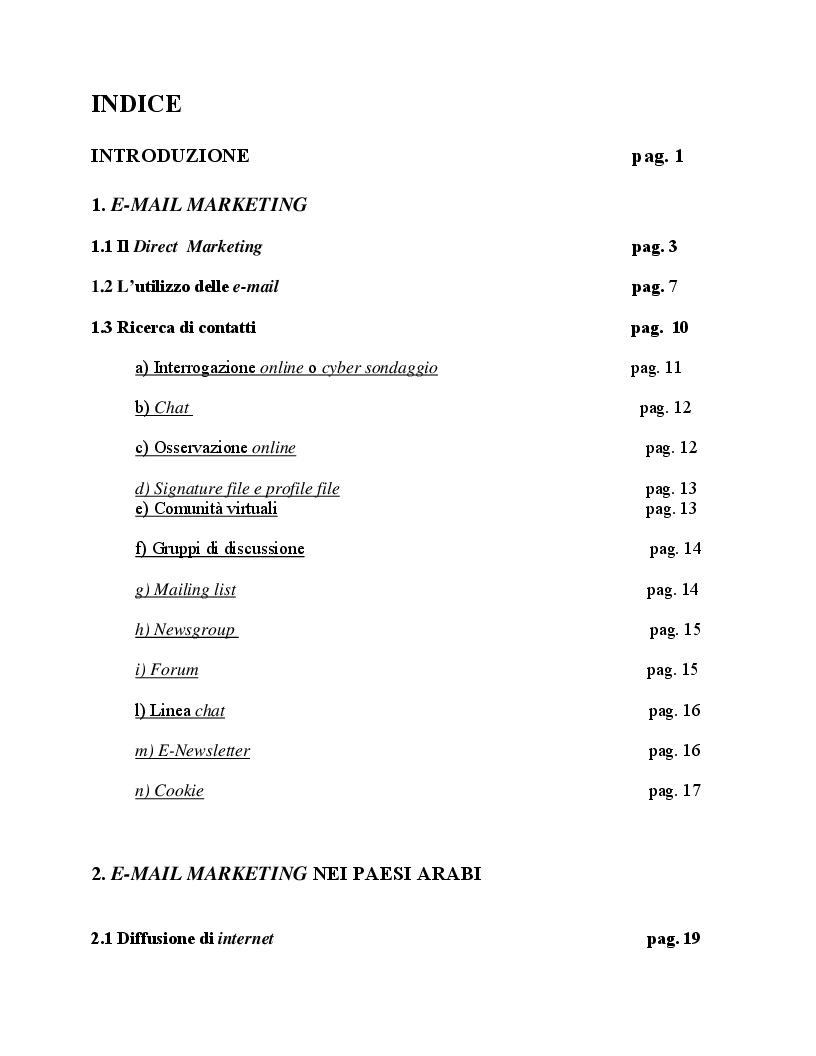Indice della tesi: Email marketing nei paesi arabi, Pagina 1