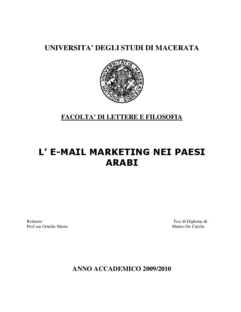 Anteprima della tesi: Email marketing nei paesi arabi, Pagina 1