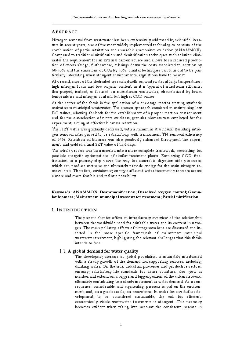 Estratto dalla tesi: Mainstream deammonification at low DO values and employing granular biomass