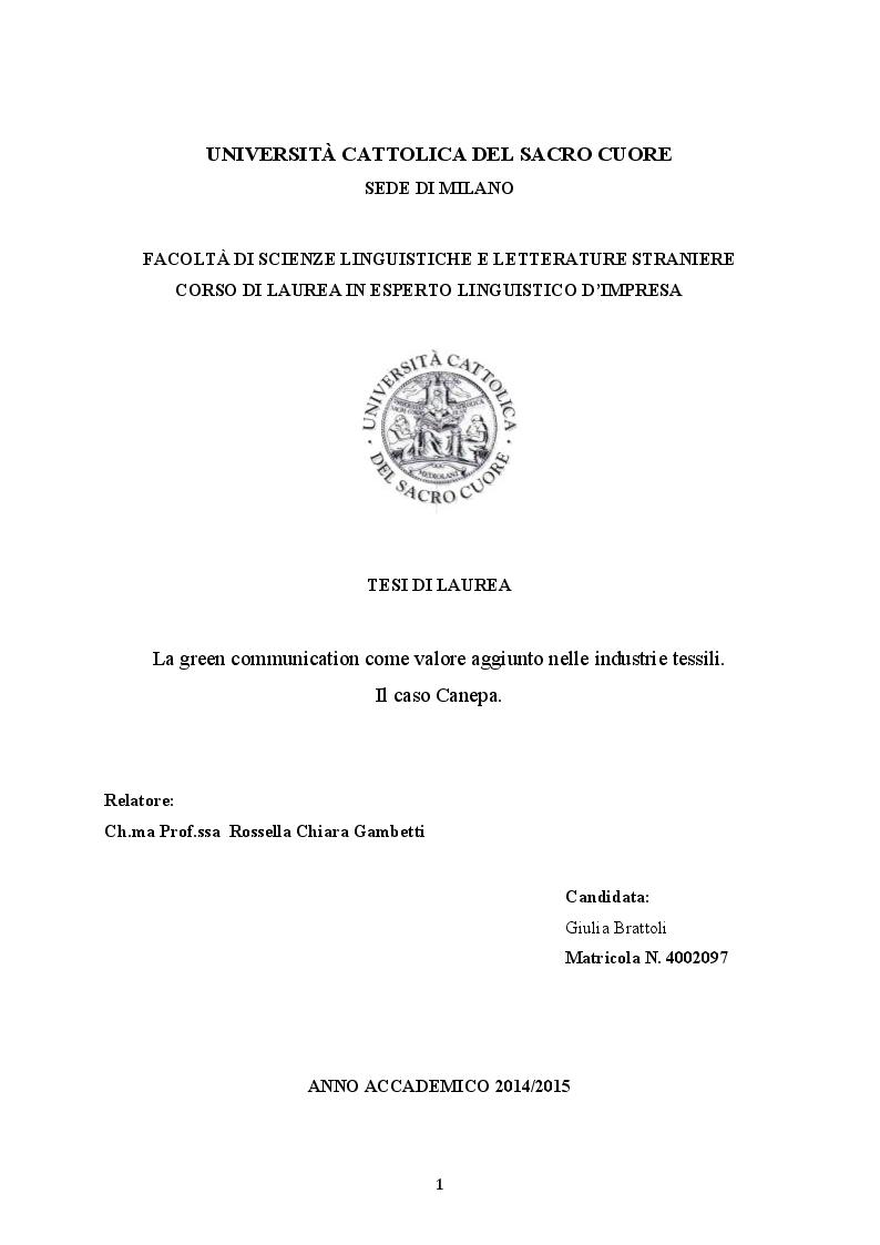 Anteprima tesi laurea triennale la green communication for Nascondi esperto