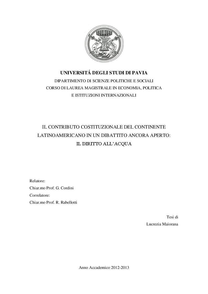 Anteprima della tesi: Il contributo costituzionale del continente latinoamericano in un dibattito ancora aperto: il diritto all'acqua, Pagina 1