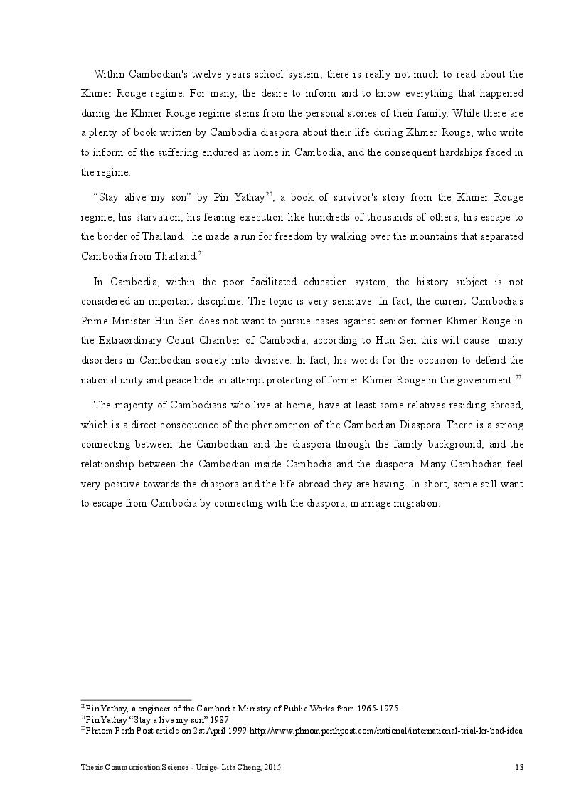 Estratto dalla tesi: Cambodian Diaspora