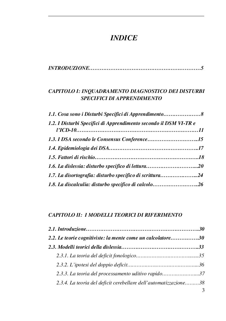 Indice della tesi: I disturbi specifici dell'apprendimento, Pagina 1