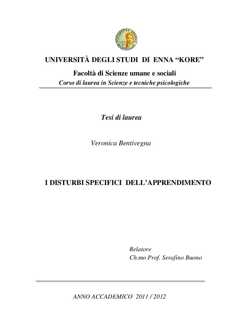 Anteprima della tesi: I disturbi specifici dell'apprendimento, Pagina 1