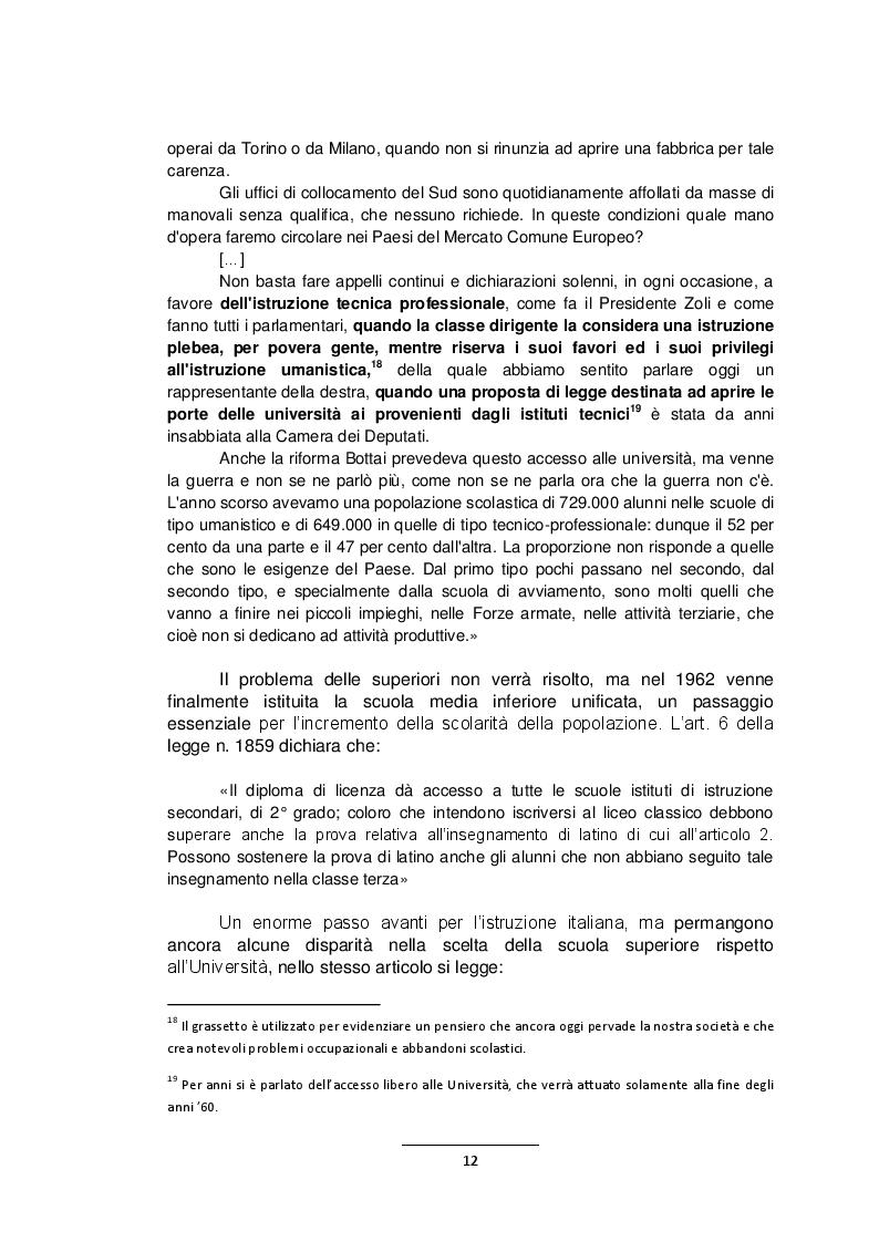Estratto dalla tesi: L'istruzione professionale di stato. Trasformazioni e programmi dagli anni del secondo dopoguerra. Studio della realtà romana.