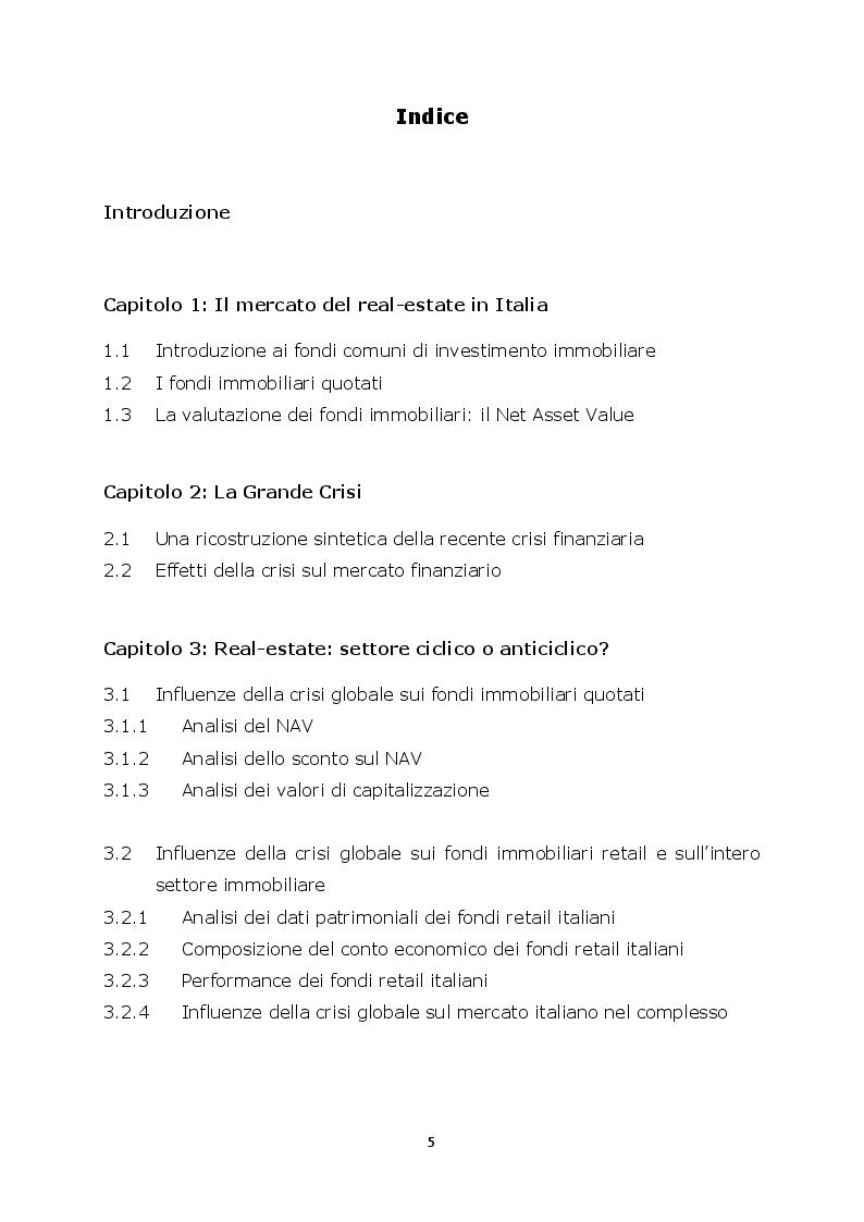 Indice della tesi: Real-estate: anticiclicità solo apparente o connessioni con la crisi economica globale? Un'analisi empirica, Pagina 1