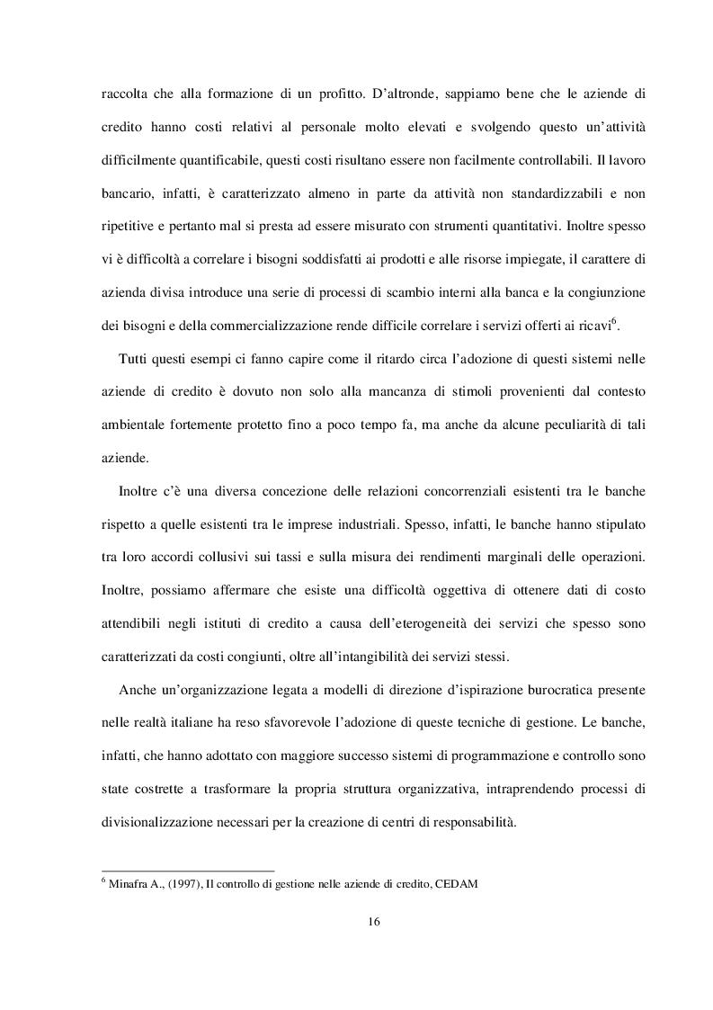 Estratto dalla tesi: Attività di programmazione e controlli interni nelle banche