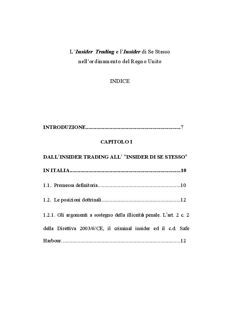 Indice della tesi: L'insider trading e l'insider di se stesso nell'ordinamento del Regno Unito, Pagina 1