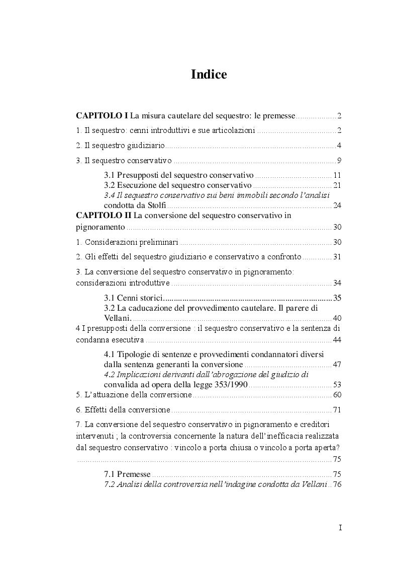 Indice della tesi: La conversione del sequestro conservativo in pignoramento, Pagina 1