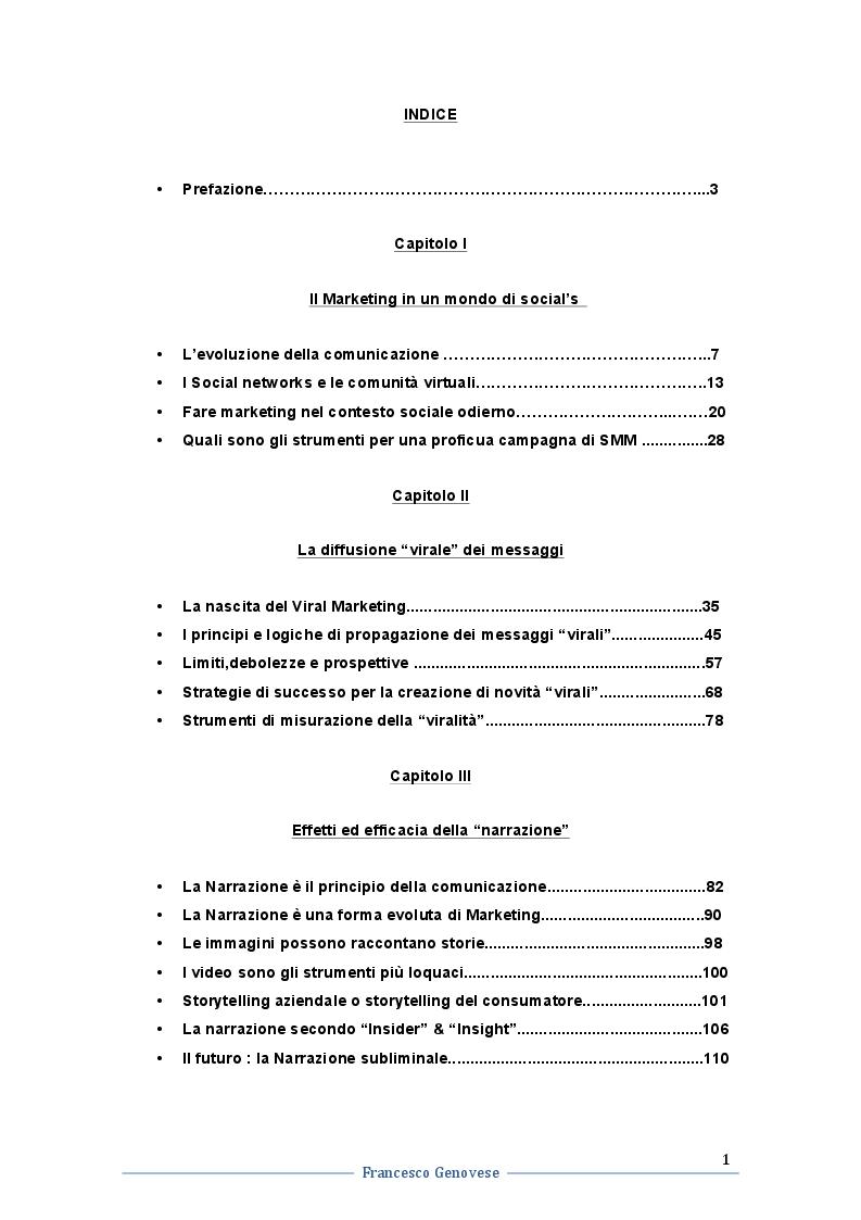 Indice della tesi: Evoluzione del Viral Marketing e della Narrazione nella Comunicazione: strumenti, strategie e contenuti, Pagina 1