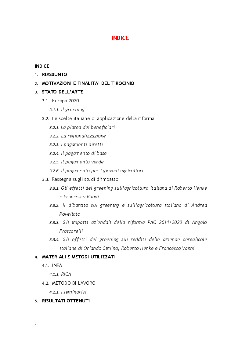 Indice della tesi: Valutazione degli effetti del greening sulle aziende agricole italiane, Pagina 1