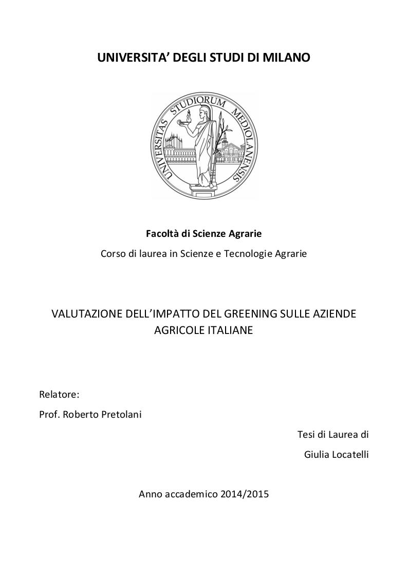 Anteprima della tesi: Valutazione degli effetti del greening sulle aziende agricole italiane, Pagina 1