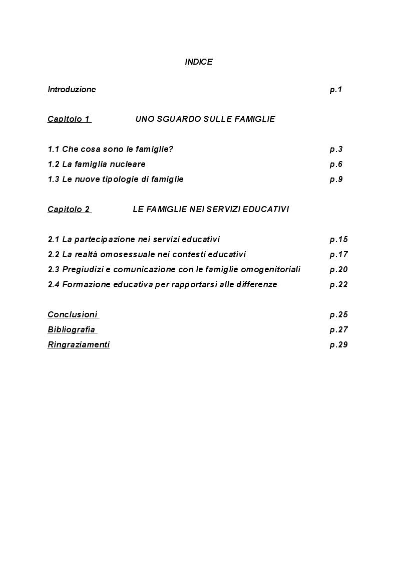 Indice della tesi: La relazione tra servizi educativi per l'infanzia e famiglie omogenitoriali, Pagina 1