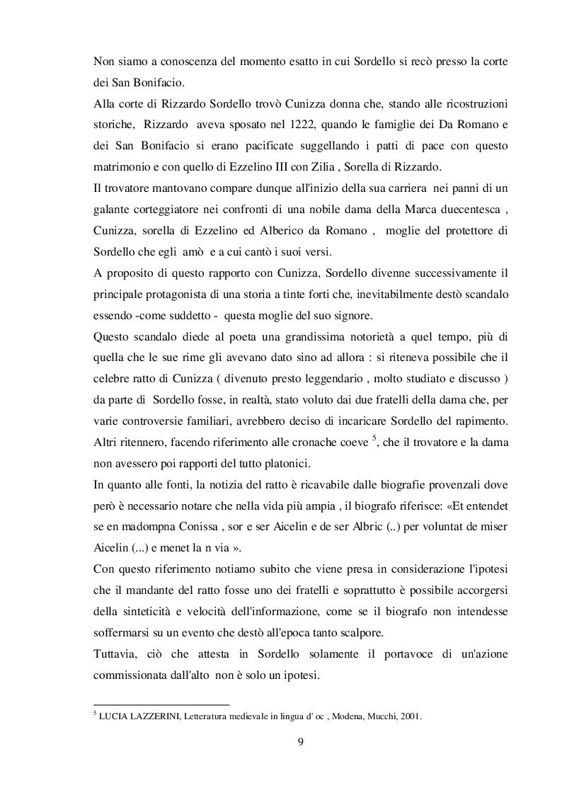 Estratto dalla tesi: La fortuna italiana di un trovatore. Sordello nei secoli XIV e XV