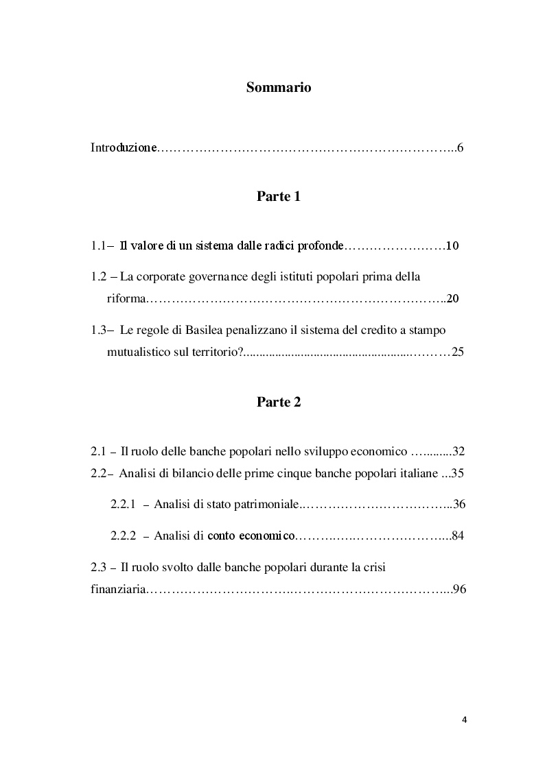 Indice della tesi: La riforma delle banche popolari: analisi degli impatti, Pagina 1