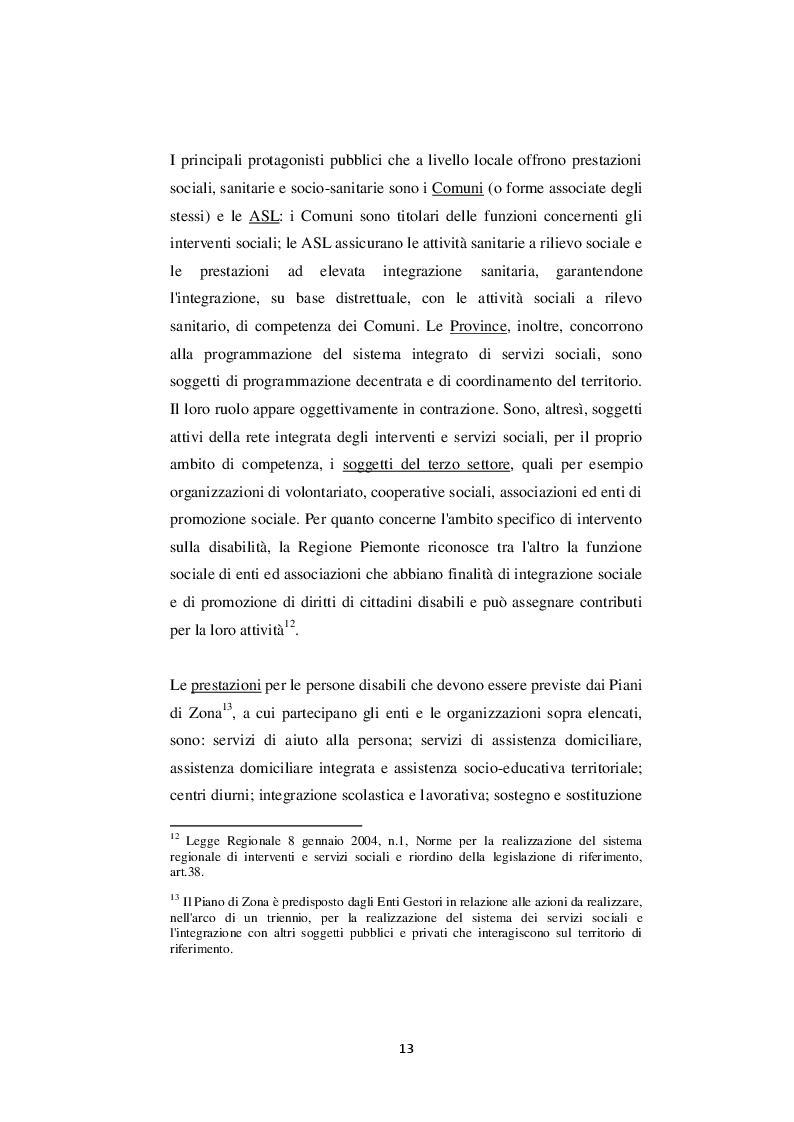 Estratto dalla tesi: Inclusione sociale e integrazione socio-sanitaria della disabilità: un confronto tra casi piemontesi