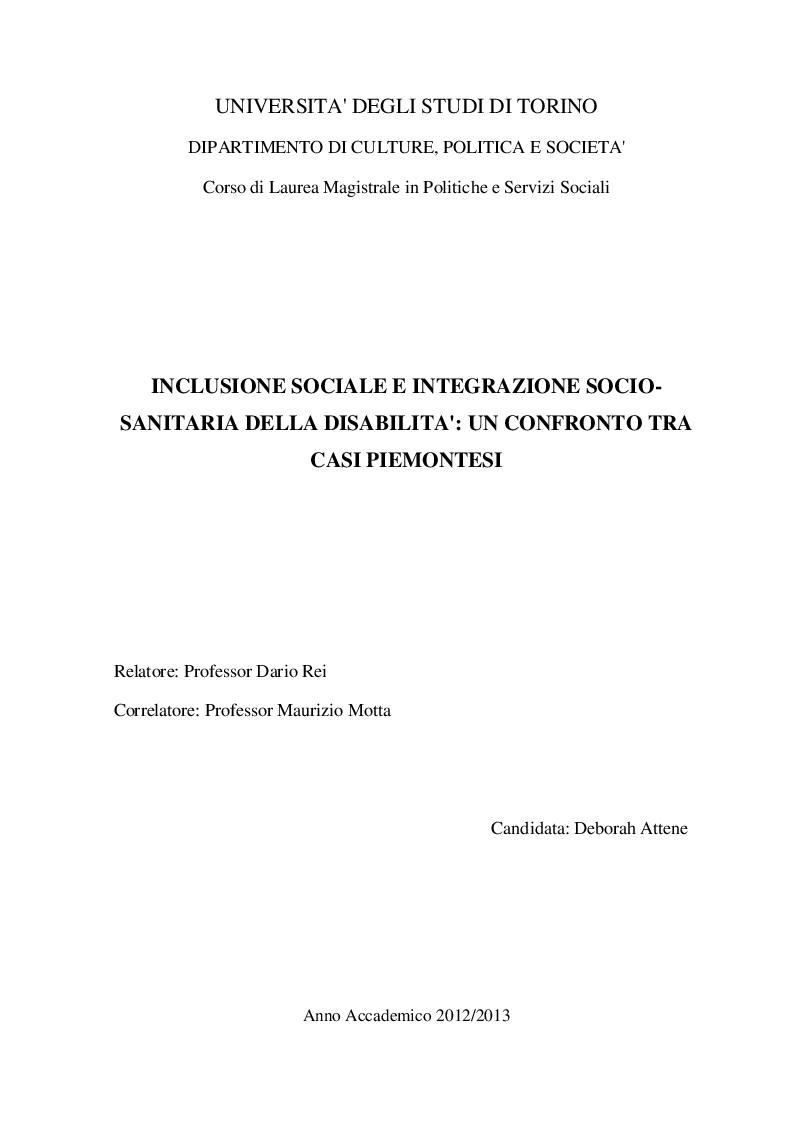 Anteprima della tesi: Inclusione sociale e integrazione socio-sanitaria della disabilità: un confronto tra casi piemontesi, Pagina 1