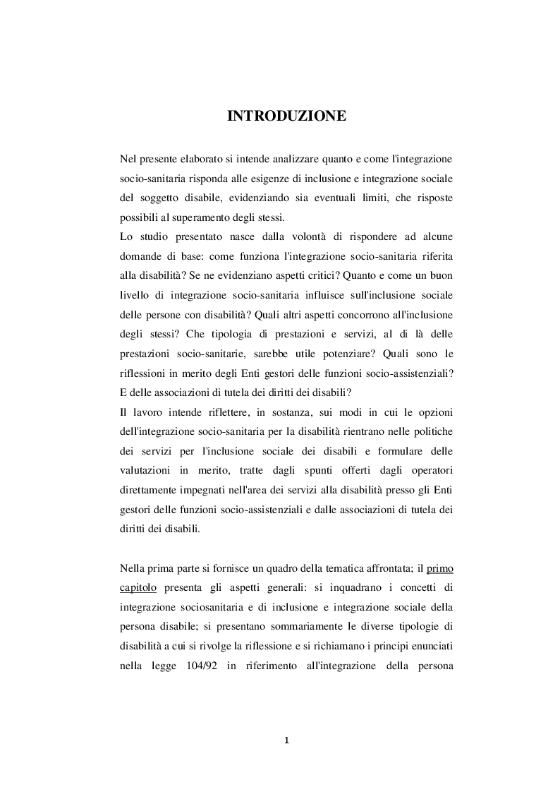 Anteprima della tesi: Inclusione sociale e integrazione socio-sanitaria della disabilità: un confronto tra casi piemontesi, Pagina 2
