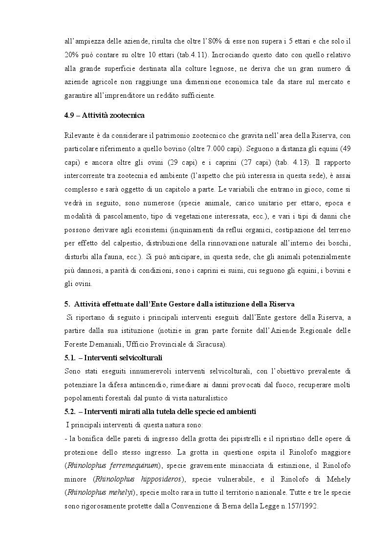 Estratto dalla tesi: Piano di gestione forestale della Riserva Naturale Orientata ''Pantalica, Valle dell'ANAPO e Torrente Cava Grande''