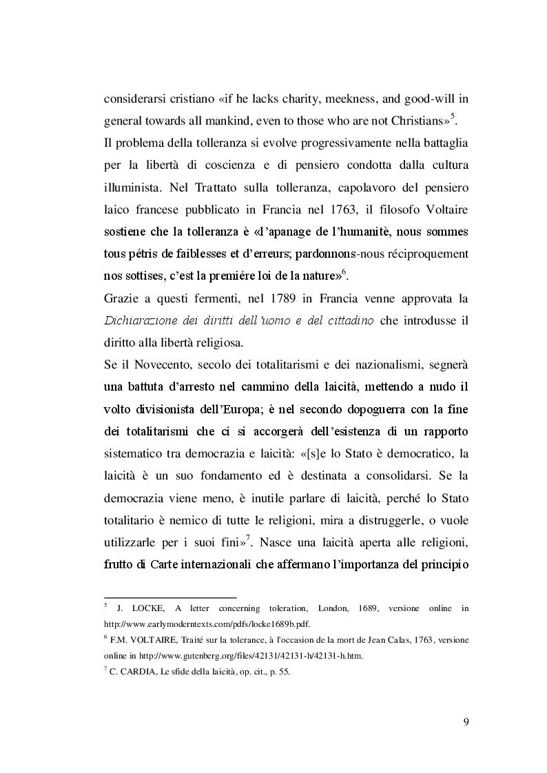 Estratto dalla tesi: Libertà religiosa e pluralismo religioso. L'insegnamento della religione islamica nell'esperienza europea