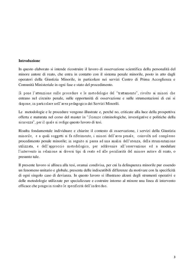 Osservazione scientifica della personalità del minore nel sistema penale minorile - Tesi di Laurea