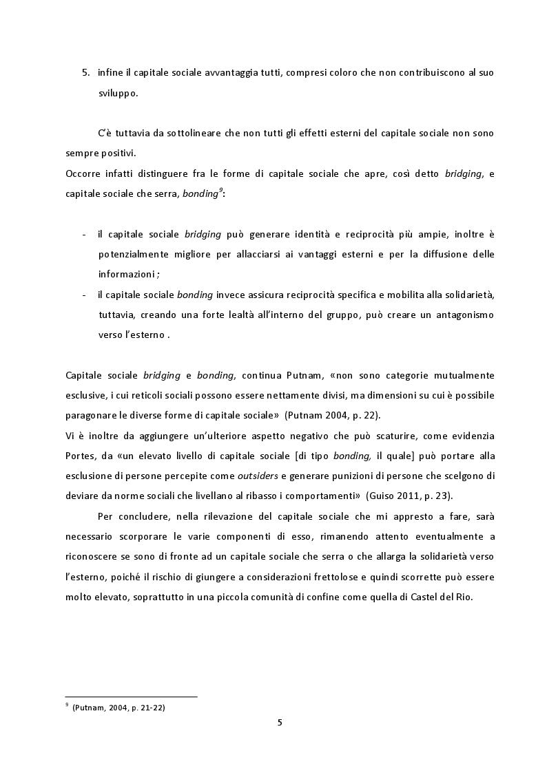 Estratto dalla tesi: Capitale sociale e partecipazione nel Comune di Castel del Rio